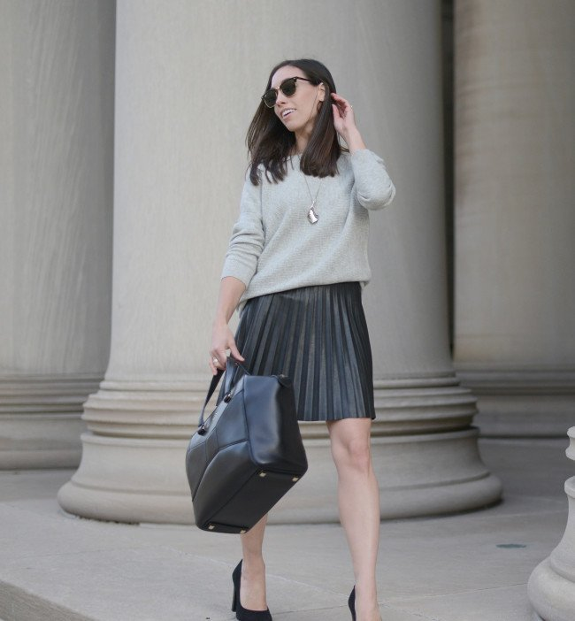 Wellesley & King | pleated leather mini skirt, oversized sweater, J.Crew, Kate Spade Beau Bag, Ray-Ban Clubmaster, fall outfit, minimal style, classic style
