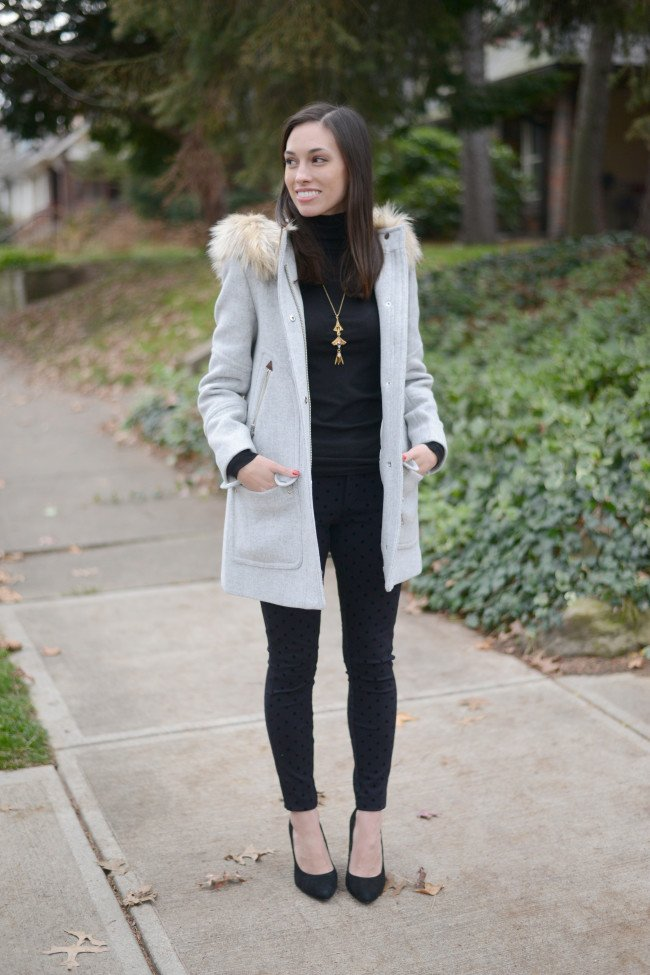 Wellesley & King   J.Crew Chateau Parka, wool parka, polka dots, classic style, winter outfit, dressy outfit, petite outfit