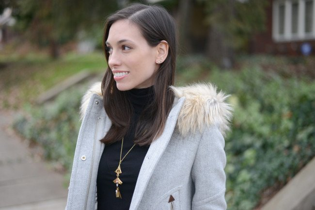 Wellesley & King | J.Crew Chateau Parka, wool parka, polka dots, classic style, winter outfit, dressy outfit, petite outfit