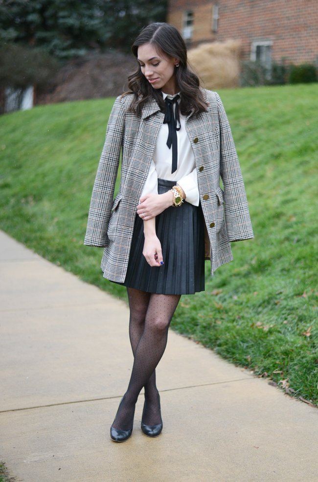 Wellesley & King - a style blog | A classic outfit for work or weekend, a pleated leather skirt and bow tie blouse with a classic plaid overcoat. Click for more style every day style inspiration that YOU can wear!