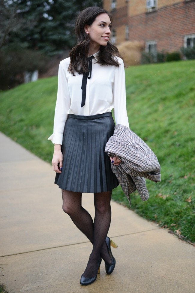 Wellesley & King - Bow Tie Blouse   Pleated Leather Skirt ...