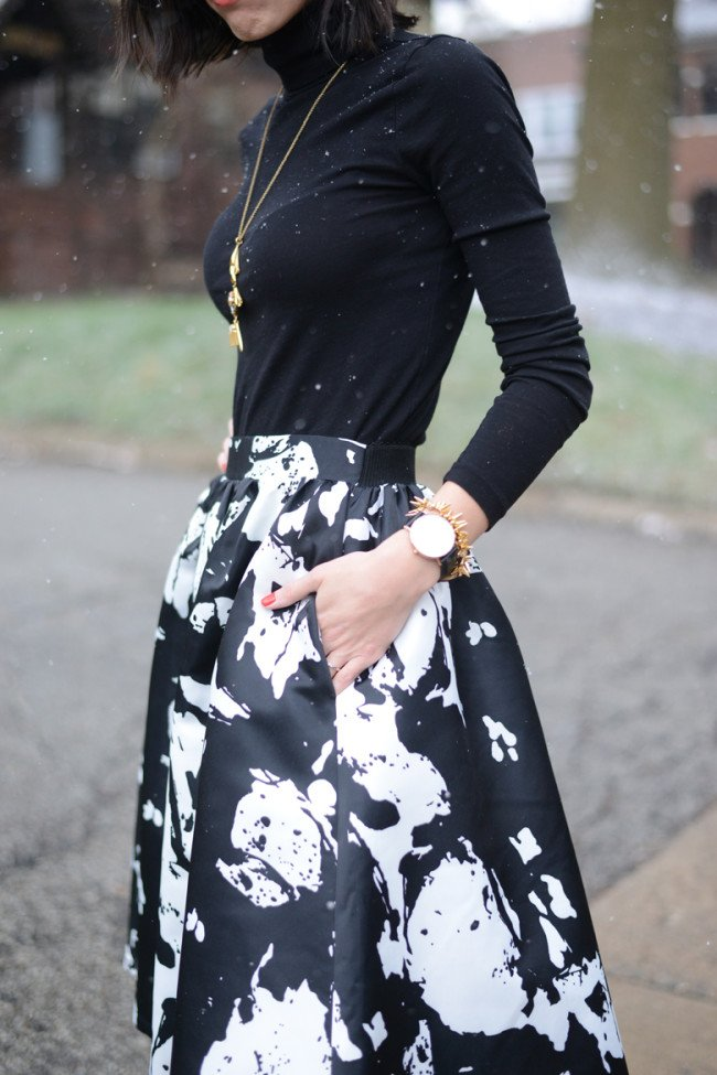 Floral Midi Skirt + Black Turtleneck