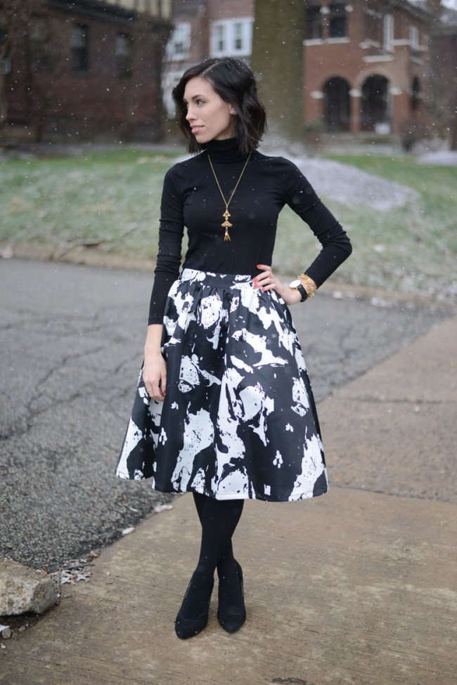 Floral Midi Skirt + Black Turtleneck - Wellesley u0026 King