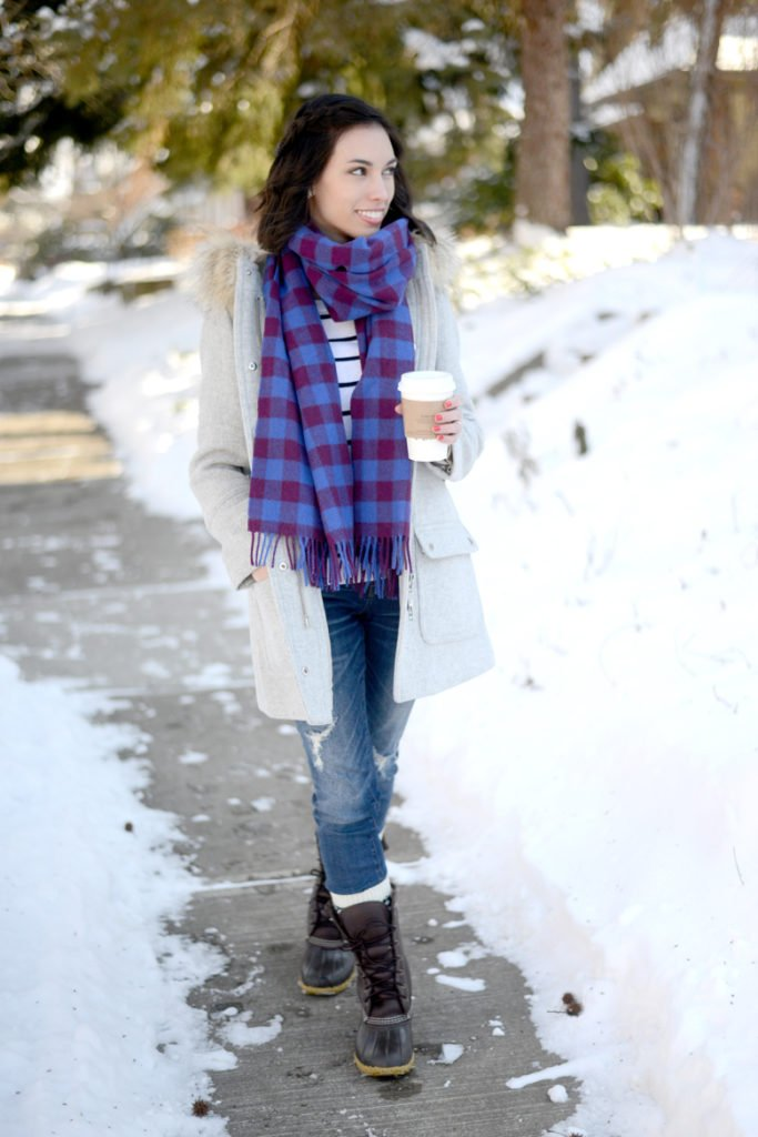 Wellesley & King | winter outfit, winter coat, bean boots, jcrew parka, jcrew coat, classic outfit, casual outfit | The Perfect winter boots styled by top US fashion blog, Wellesley & King: image of a woman wearing a J Crew coat, J Crew Factory sweater, J Crew scarf, Madewell jeans and LL Bean Winter boots