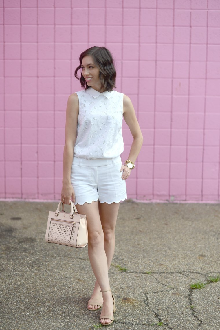 Wellesley & King can teach you the basics of creating a classic and feminine wardrobe on a budget. Click to see more outfits from this classic fashion blogger! | feminine style, classic outfit, eyelet blouse, kate spade handbag, MAC lipstick, long bob, fashion blogger, pittsburgh blogger, everygirl style, everyday fashion,