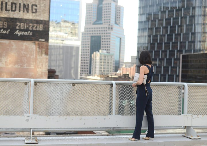 Pittsburgh Fashion blogger Wellesley & King in a petite navy dressy jumpsuit