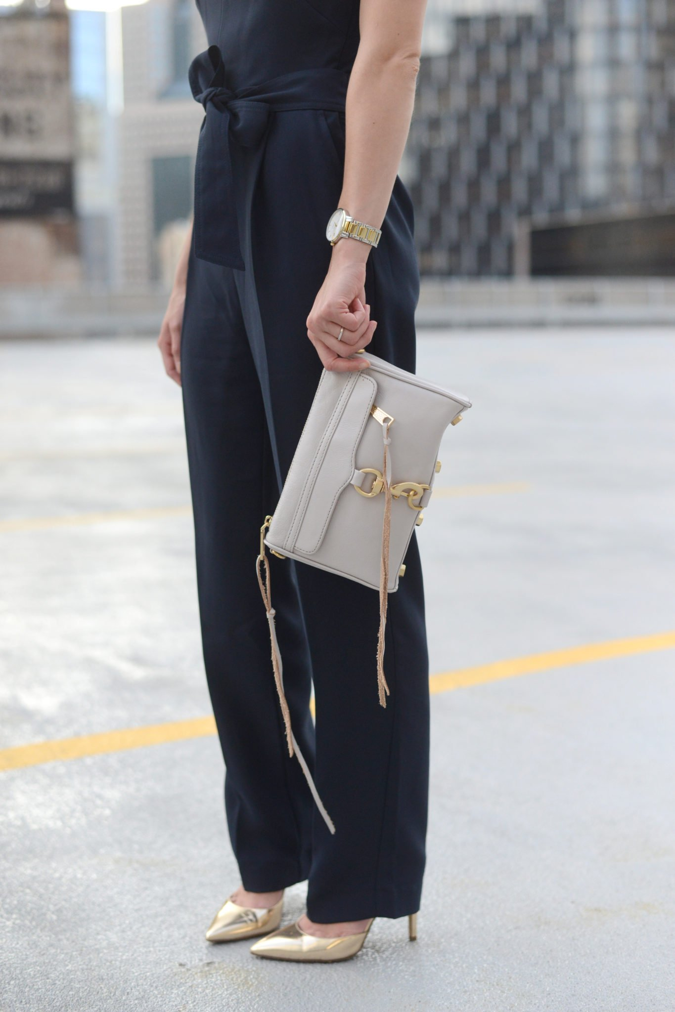 Pittsburgh Fashion blogger Wellesley & King in a petite navy dressy jumpsuit with Rebecca Minkoff Mini Mac handbag