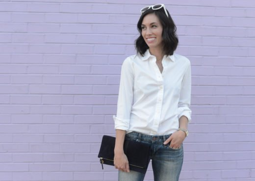 pittsburgh fashion blogger classic button up blouse jcrew heels