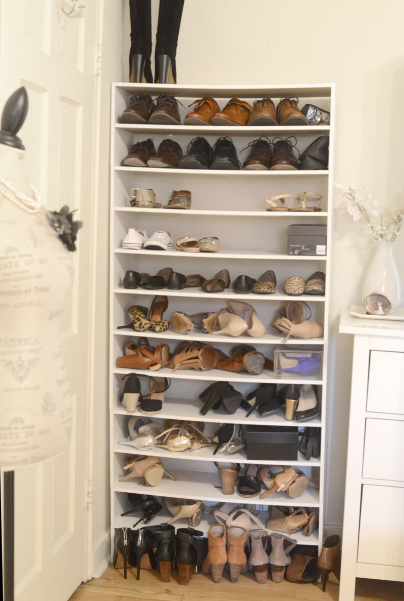 shoe cabinet shoe organizing | Shoe Closet Organizer: The Ultimate Solution for Shoe Storage featured by top Pittsburgh fashion blog, Wellesley & King: before picture