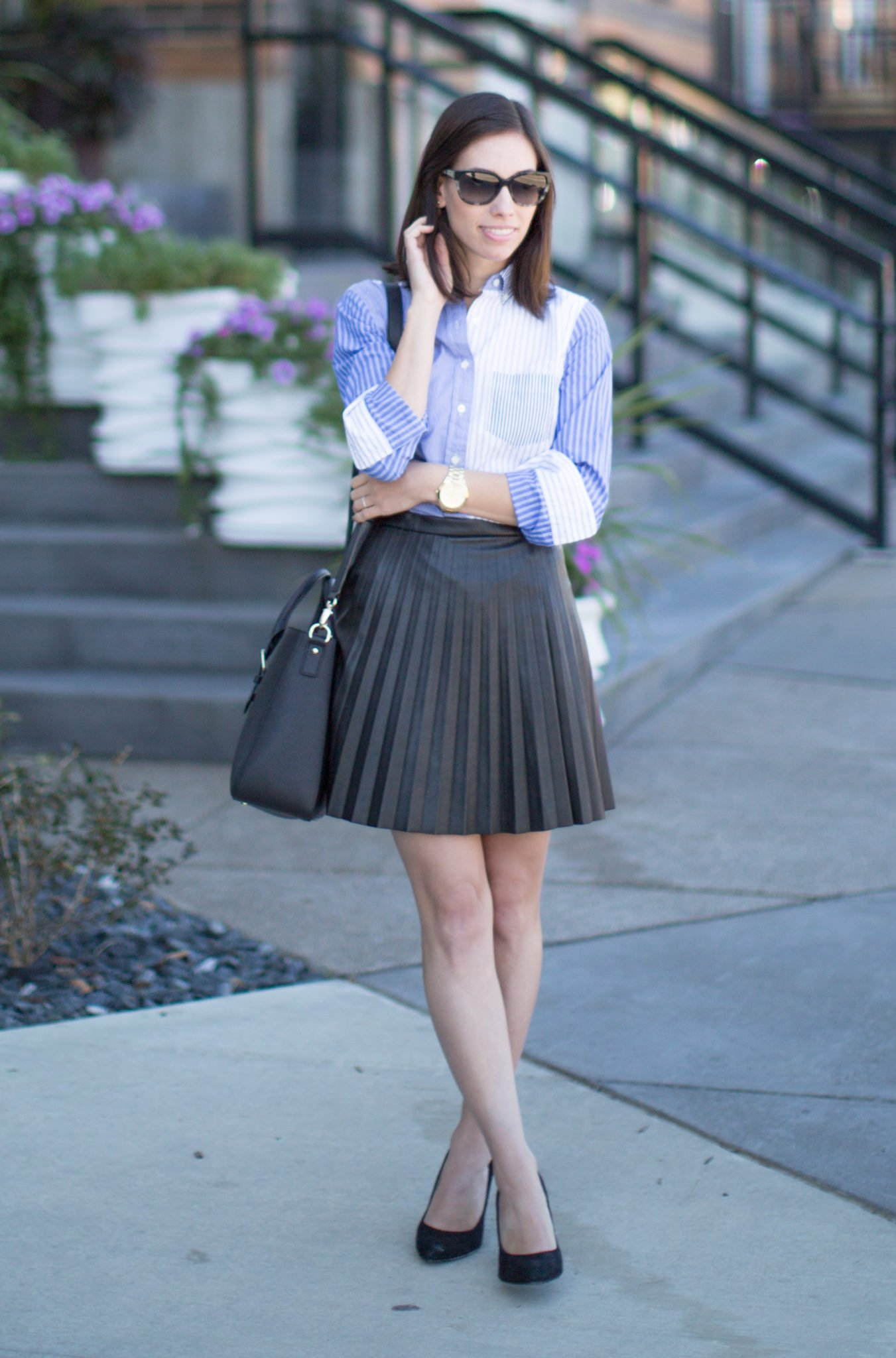 j crew tuxedo shirt and pleated faux leather skirt
