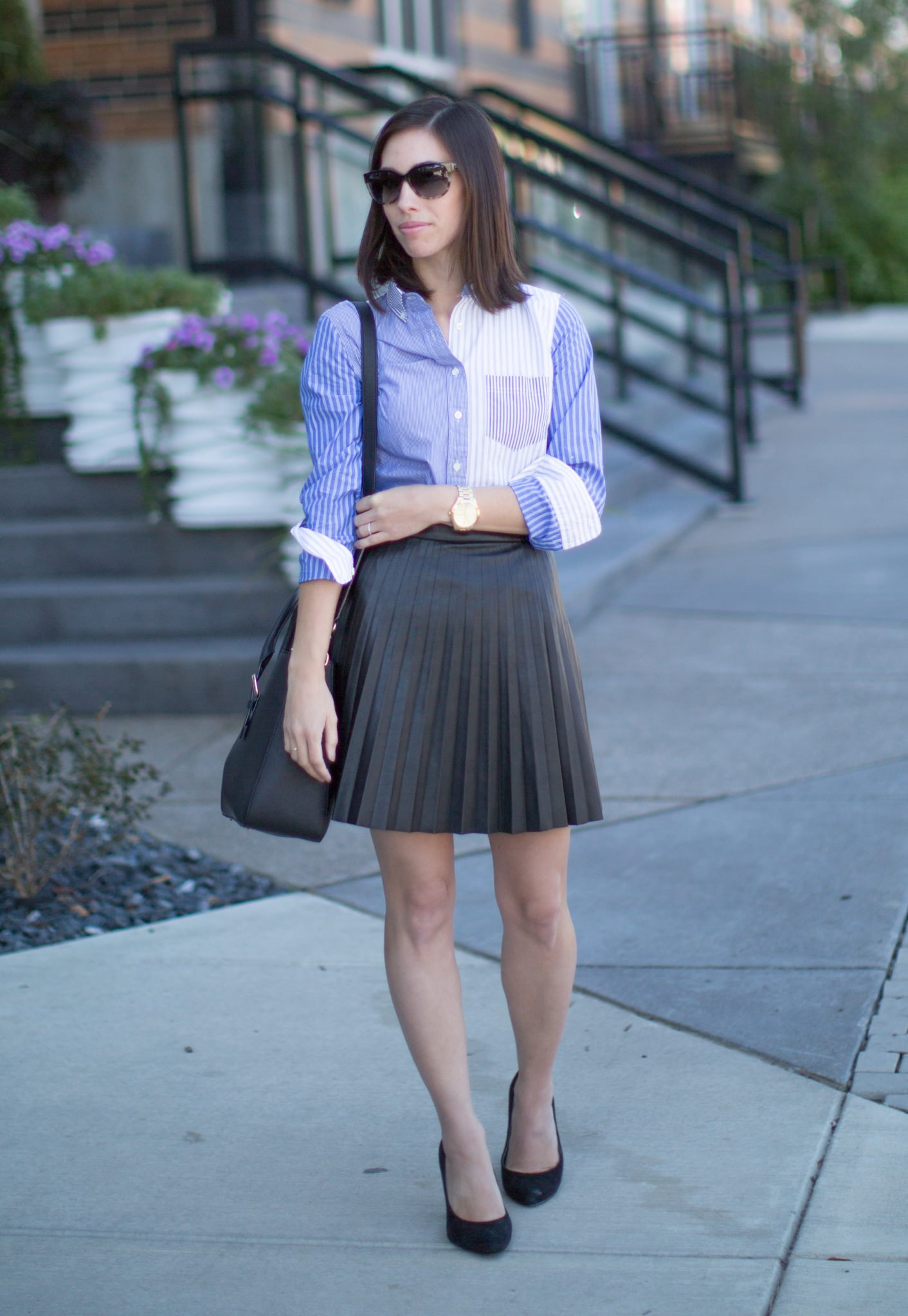 Wellesley & King - J.Crew Tuxedo Shirt and Pleated Faux Leather ...