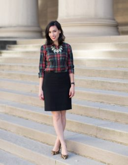 dressy holiday outfit tartan plaid shirt | JCrew factory tartan plaid shirt styled by top Pittsburgh fashion blog, Wellesley & King