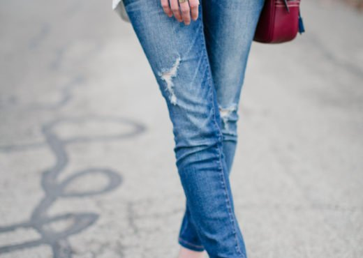 distressed jeans and heels