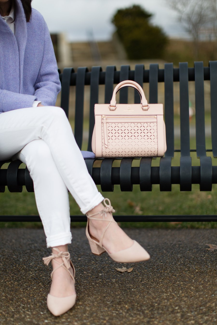 blush pink block heel pump