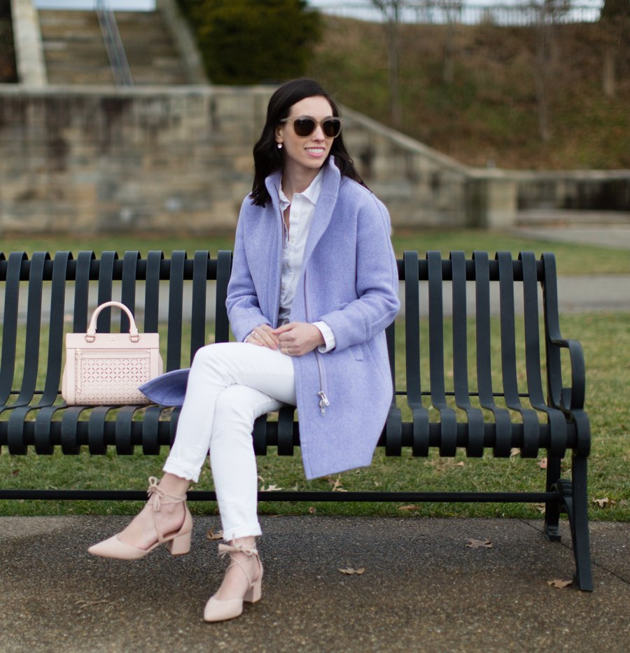 jcrew purple cocoon coat