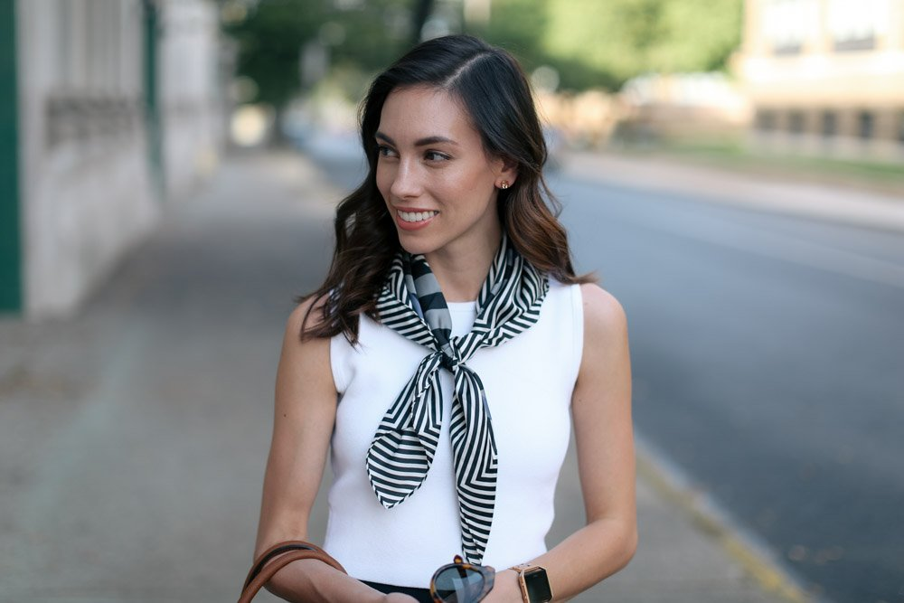 modcloth pleated skirt-neck scarf-wellesley and king-pittsburgh blogger-@wellesleynking