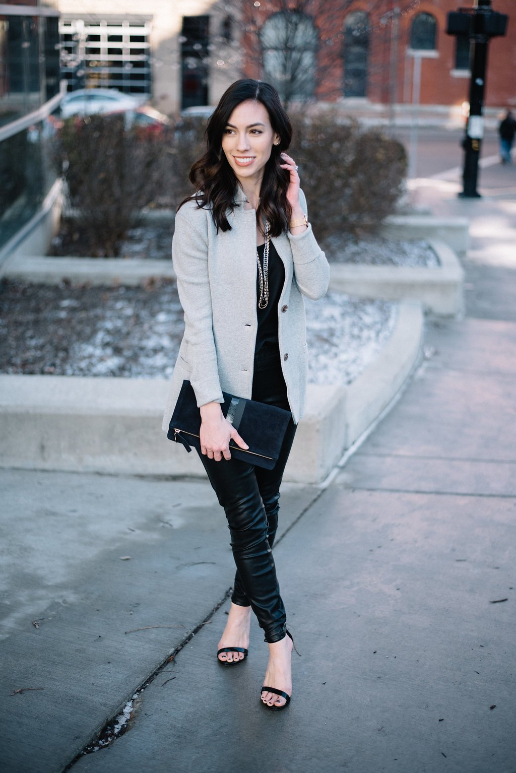 jcrew sweater blazer-@wellesleynking-wellesley and king | How to style a sweater blazer featured by top Pittsburgh fashion blog, Wellesley & King: image of a woman wearing Clare V clutch, J Crew Factory camisole, Stella & Dot necklace, J Crew blazer, Blank NYC leather pants and Steve Madden heels