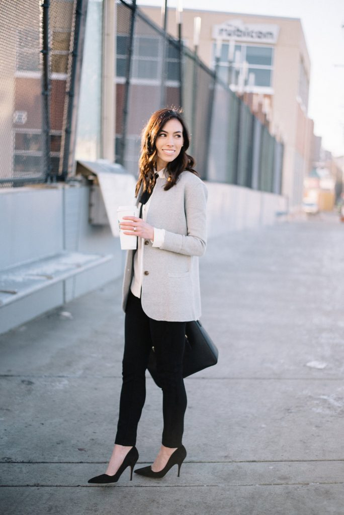 jcrew sweater blazer-@wellesleynking-wellesley and king | How to style a sweater blazer featured by top Pittsburgh fashion blog, Wellesley & King: image of a woman wearing a JCrew grey sweater blazer, Anne Klein bow top, Kate Spade bag and Kate Spade heels