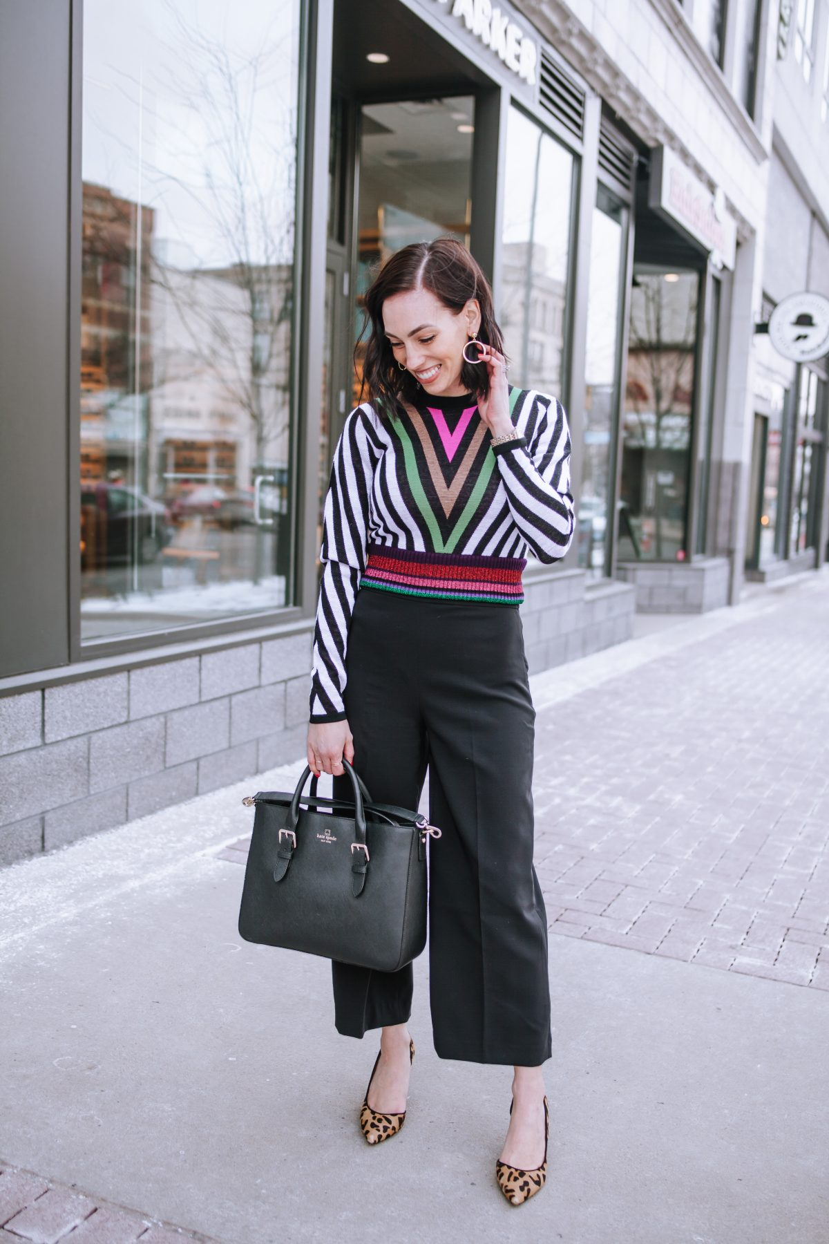 Top US fashion blogger, Wellesley & King, styles a DVF sweater three ways: girl in dvf sweater, culottes, kate spade purse