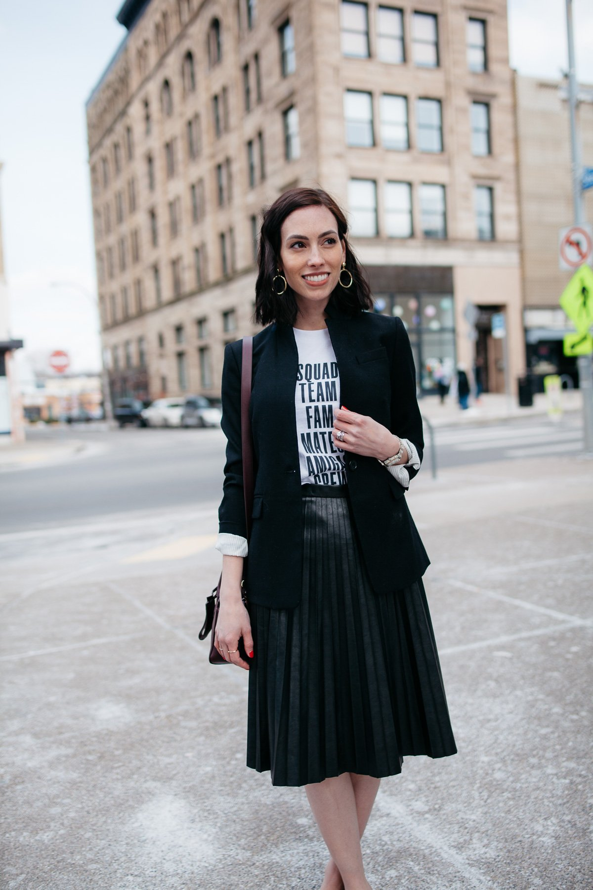 Top US fashion blogger, Wellesley & King, styles a graphic tshirt three ways: girl in tshirt, jcrew blazer, and leather midi skirt outfit