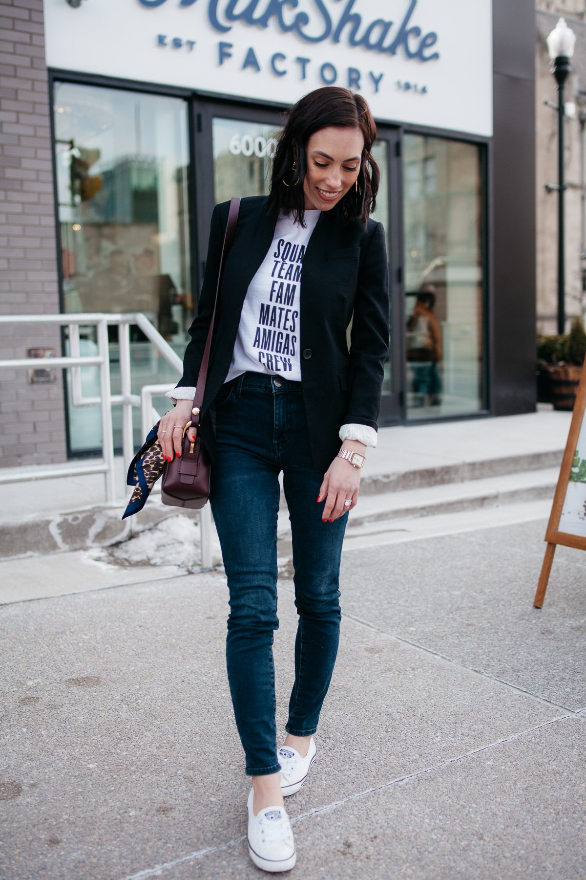 Top US fashion blogger, Wellesley & King, styles a graphic tshirt three ways: girl in tshirt, jcrew blazer, distressed jeans, and converse sneakers
